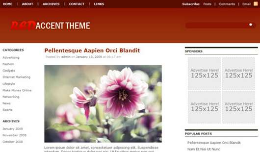 Download Red Accent WordPress theme