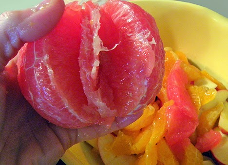 Grapefruit sections cut from grapefruit without skins
