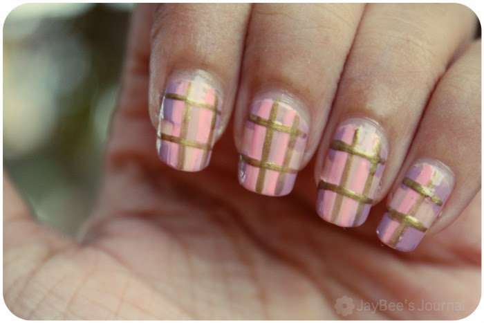 pakistani nail art blogger, girly plaid nail art tutorial
