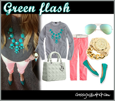 Green: J Crew Neon Pink Pants Green Madewell Flats Ray Ban Green Flash Sunglasses