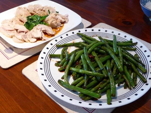 蔥油(醉)雞 & 鹹甜四季豆