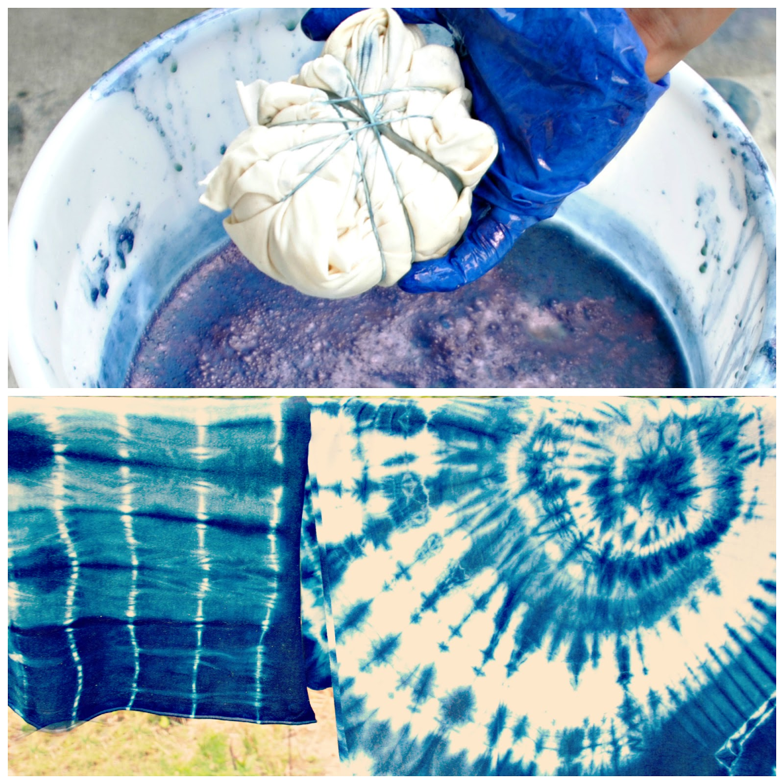 Trash to couture diy shibori with indigo - Technique tie and dye ...