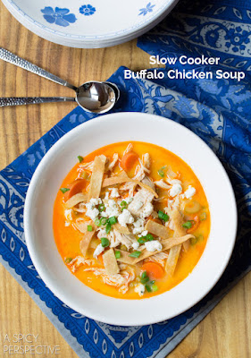 Slow Cooker Buffalo Chicken Soup from A Spicy Perspective found on SlowCookerFromScratch.com