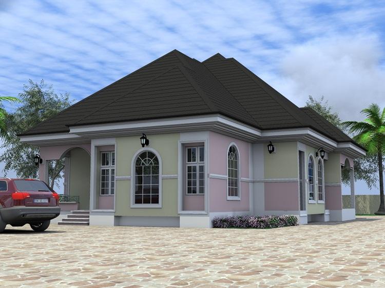 Simple Four Bedroom Bungalow Placement Home Plans