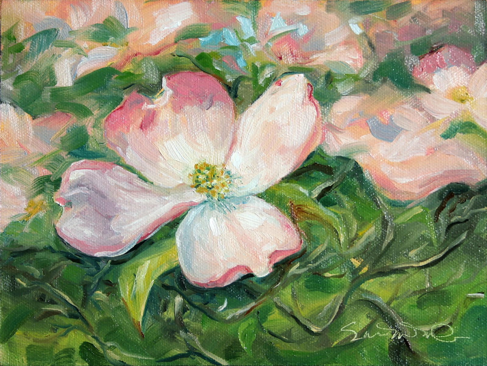 pink dogwood blooms oil painting mcgdesigns
