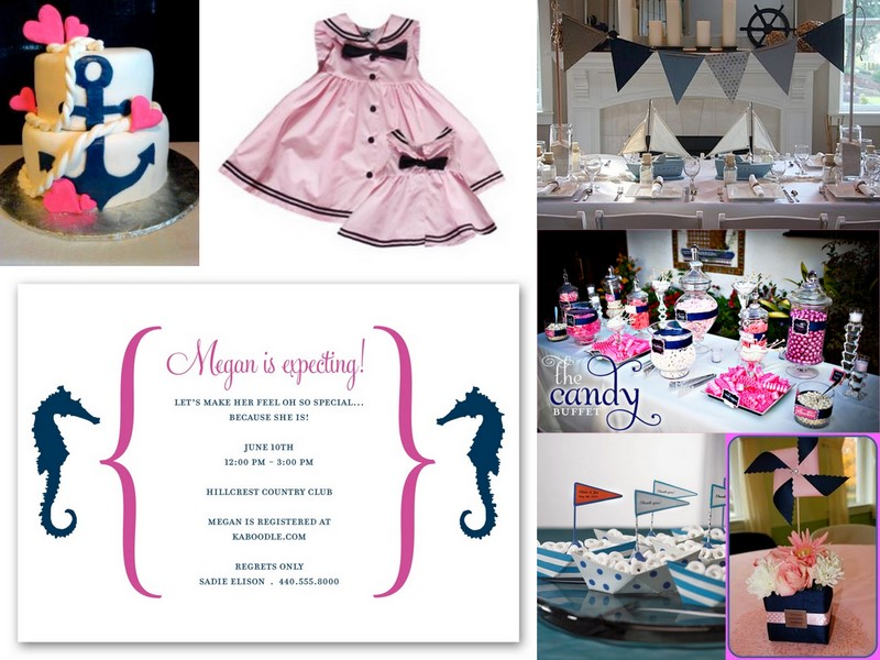 enchanted expectations girl nautical baby shower pink and navy
