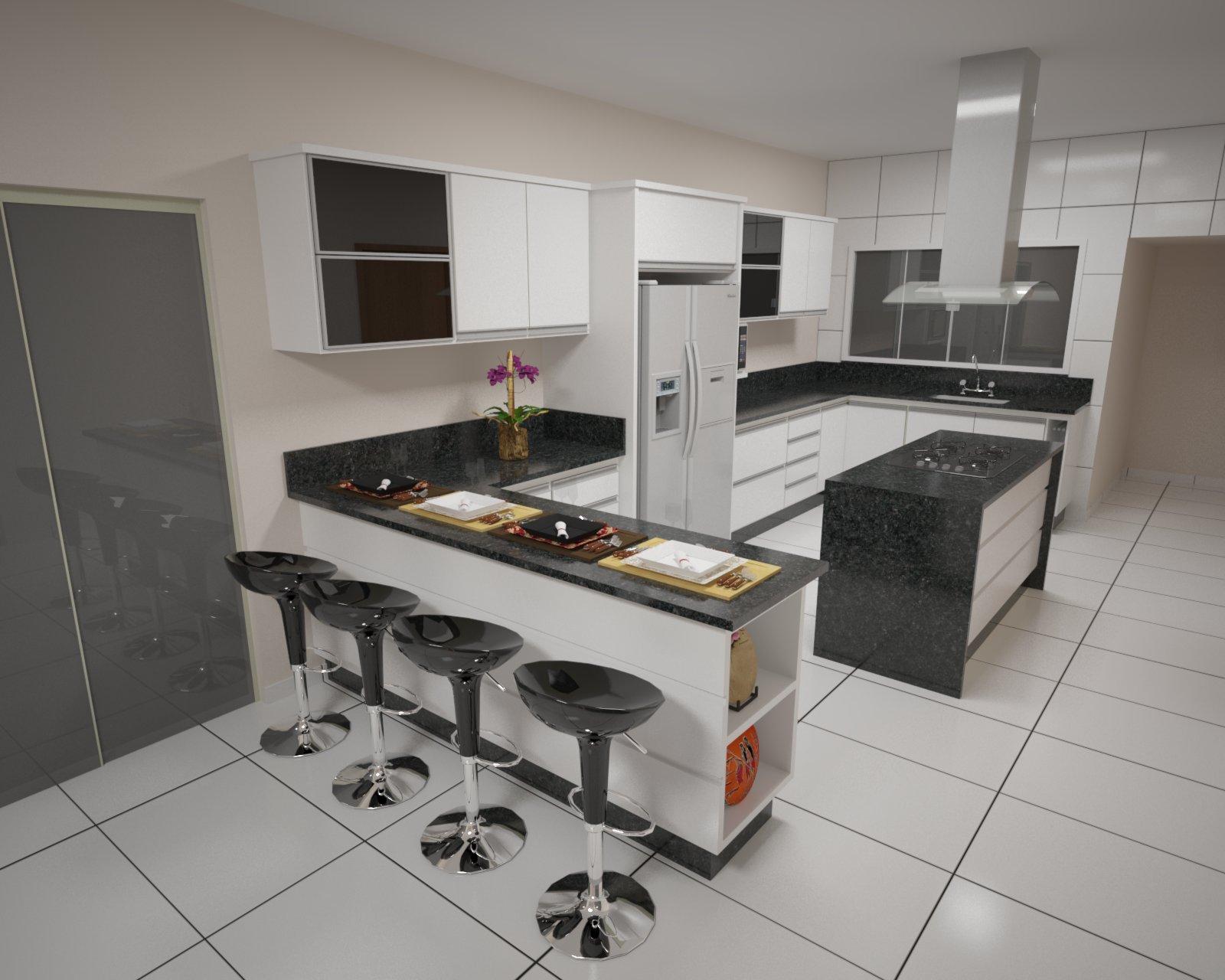 Projetos 3D para Marcenaria: Projetos Cozinhas #475C25 1600 1280