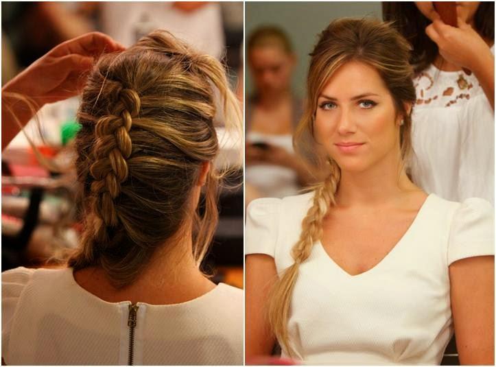 Penteados para mães de noivos com trança embutida entre loiras