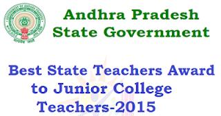 AP Junior Colleges Best Lecturers  Award List Go 431-AP Go.No 431
