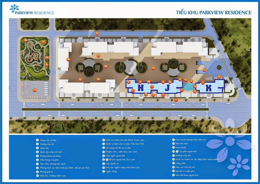 Các dịch vụ tiện ích hiện đại của Tiểu khu Park View Residence