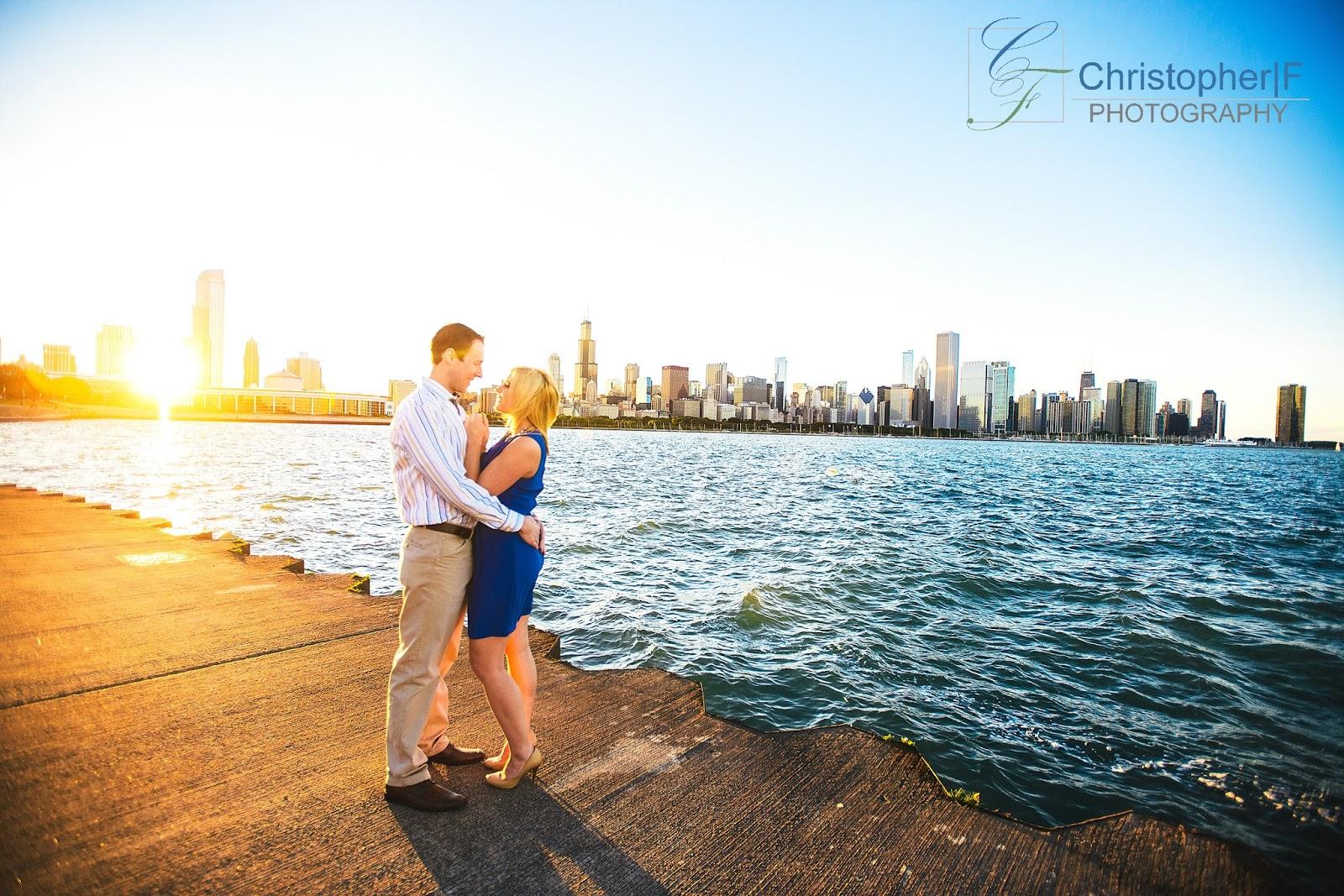 Chicago Sunset Skyline Engagement Photo