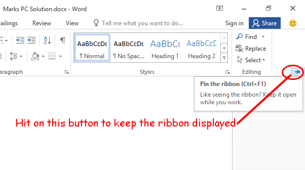 Pin the Ribbon Option in MS Word