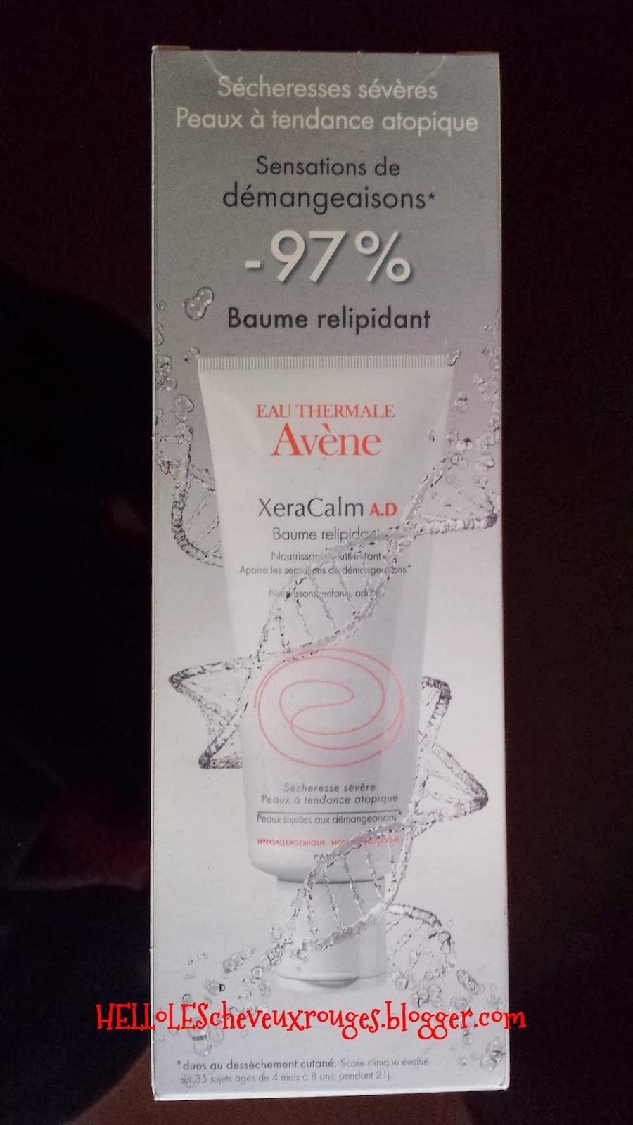 packaging vue de derrière du carton du Xéracalm A.D. de chez Avène