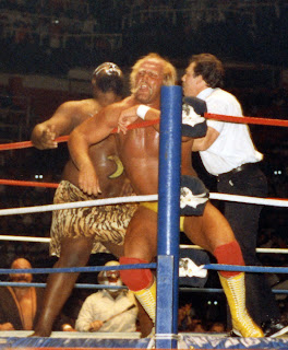 Kamala has Hulk Hogan hurt in the corner at Toronto's Maple Leaf Gardens in December, 1986 WWF wrestling.