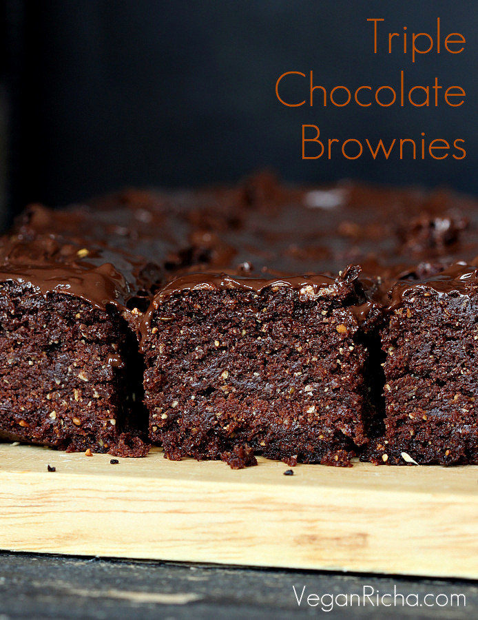 Triple Chocolate Salted Caramel Brownies. Vegan Recipe - Vegan Richa