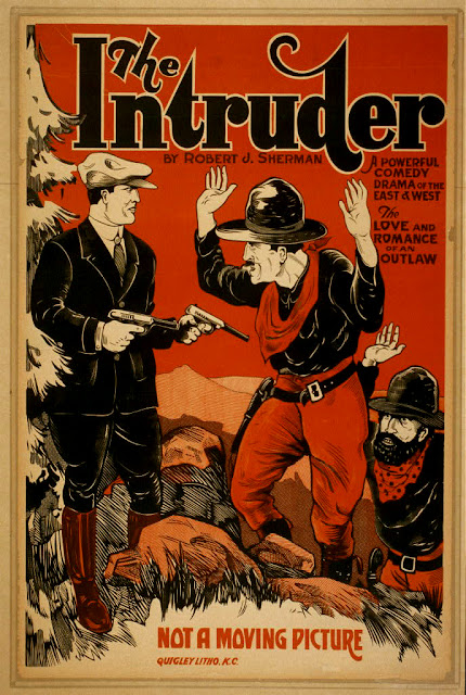 vintage, vintage posters, movies, theater, retro prints, classic posters, graphic design, free download, western, The Intruder, A Powerful Comedy Drama of the East and West - Vintage Theater Poster