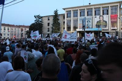 """tüntetés a """"studház"""" környékén, Kolozsvár"""