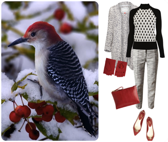 neutral gray textures with pops of red