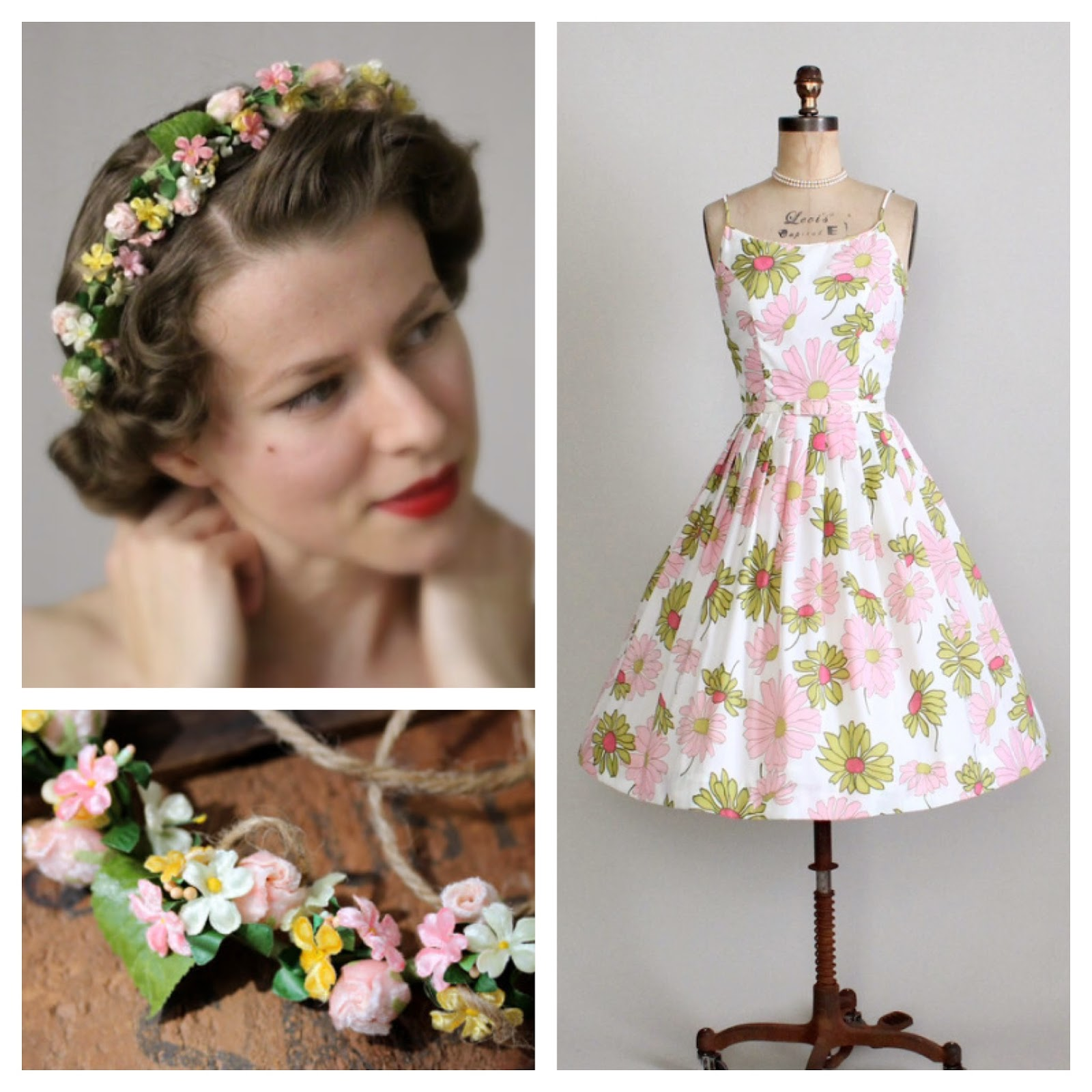 1950s Spring #1950s #dress #vintage #hair #flower #dress #spring