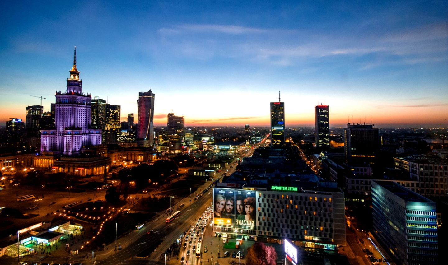 Warsaw At Night Free License CC0 Places Amazing City View