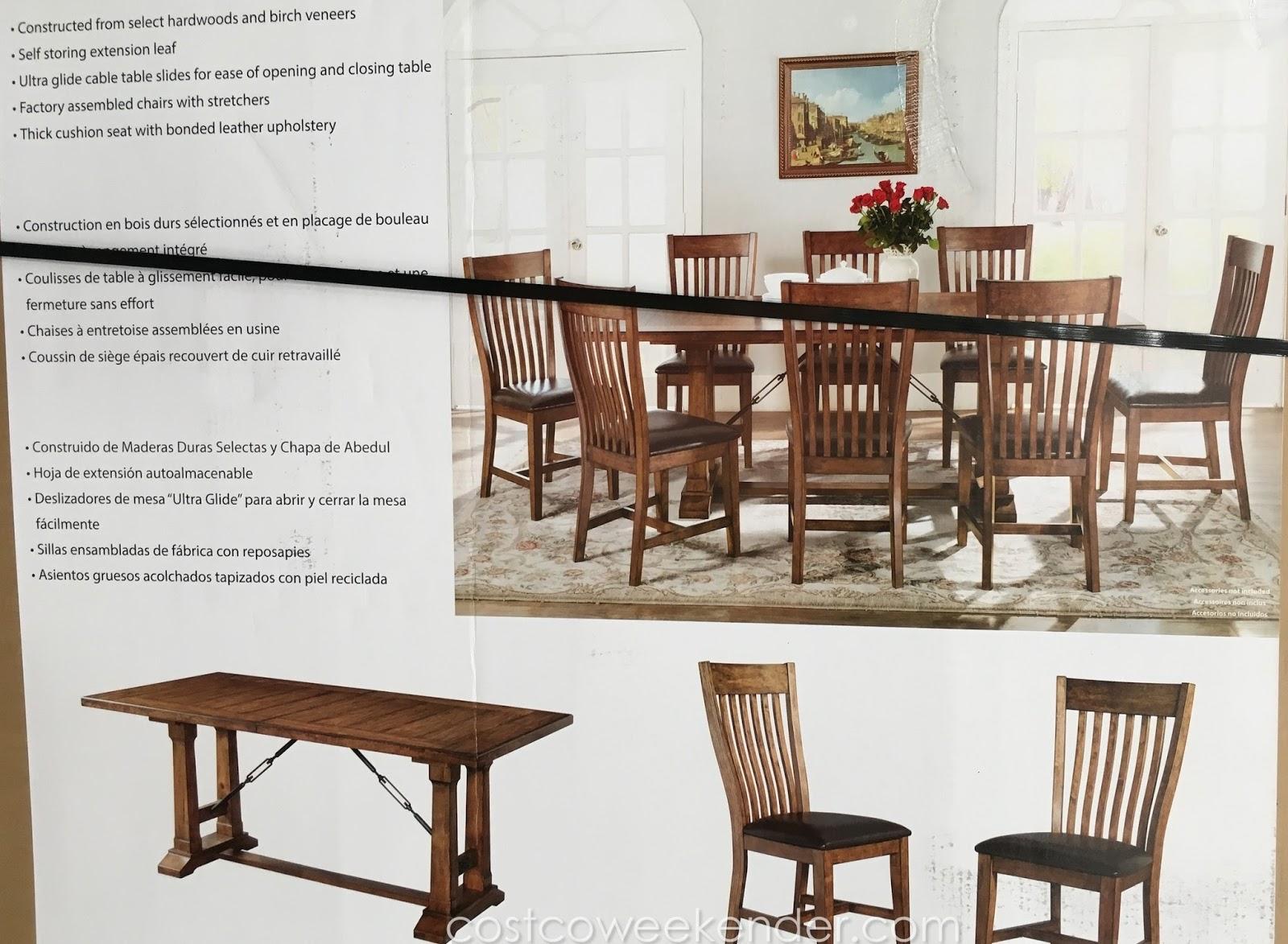 Imagio Home Furniture 9 piece Birch Veneer Dining Set