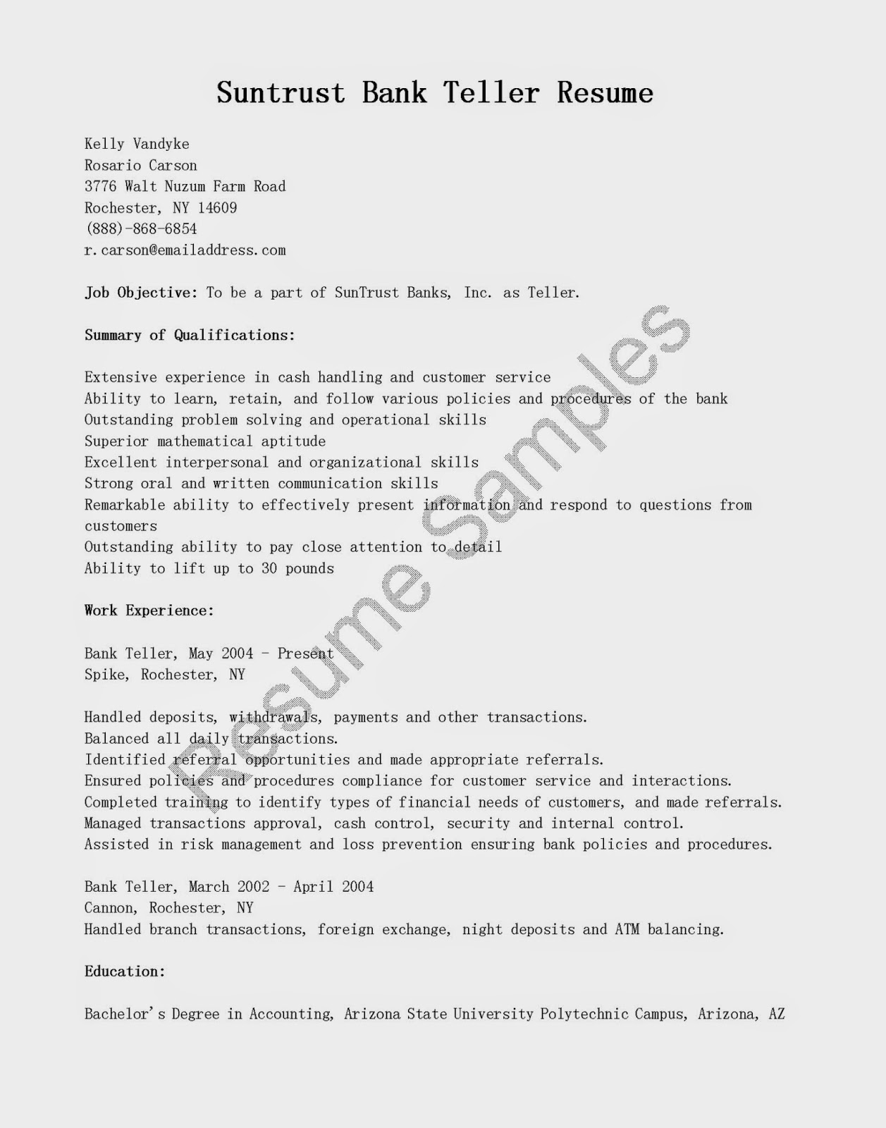 resume samples suntrust bank teller resume