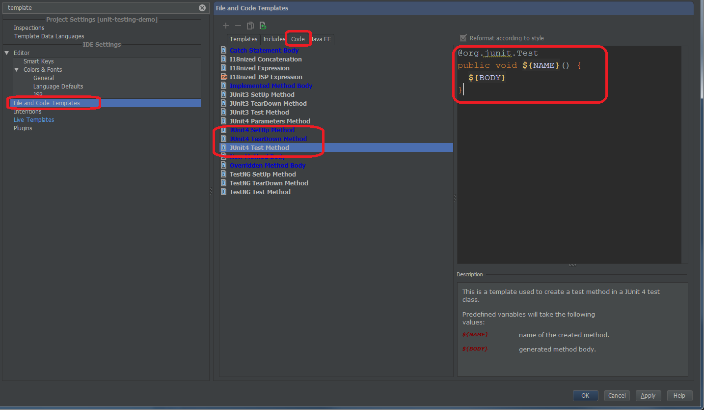 HOW-TO: Customize code templates for JUnit 4 test, setup and ...