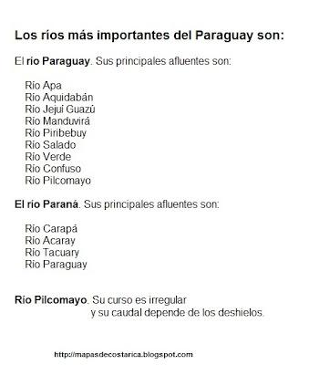 Nombre de los ríos más importantes de PARAGUAY