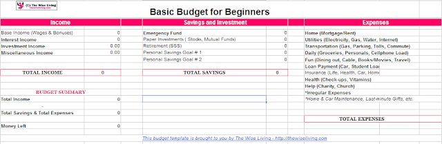 basic budget for beginners