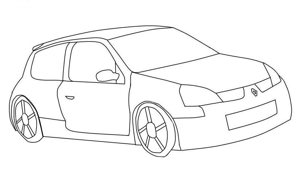 Dibujo de un Carro de dos puertas para colorear - Dibujo Views