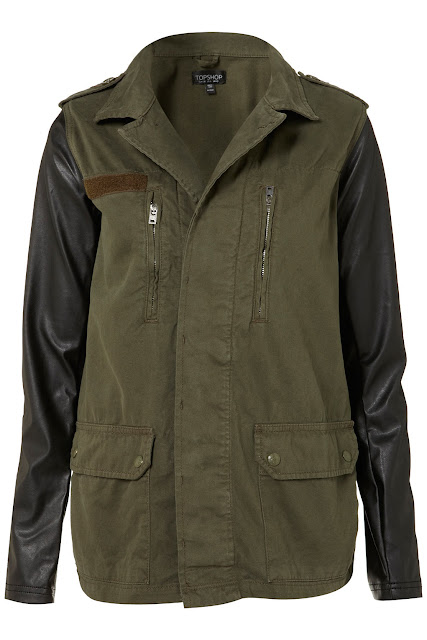 leather sleeved army green jacket