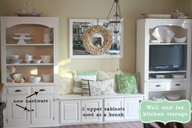 Kitchen seating and storage nook from old Broyhill wall unit via www.goldenboysandme.com