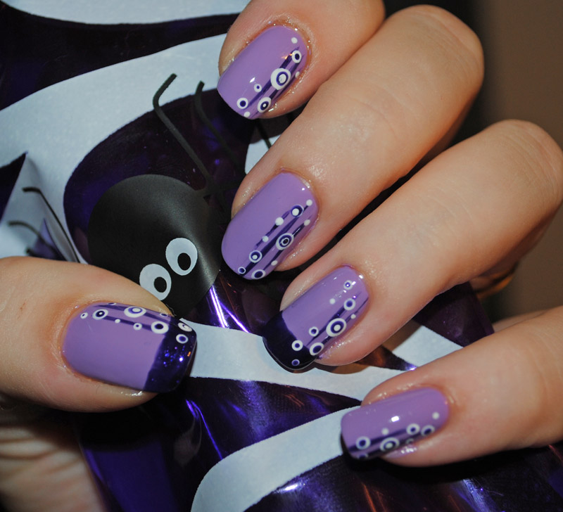 the Most Fashionable Nail Art: Violet Black and White Vector Nail Art