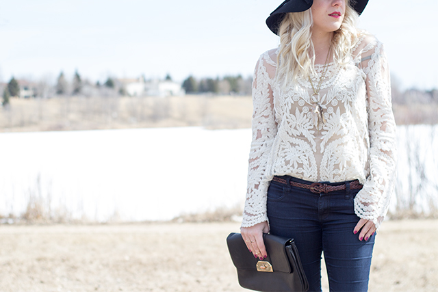 Crocheted lace top styled by Jennifer Ashley of Pretty Little Details.