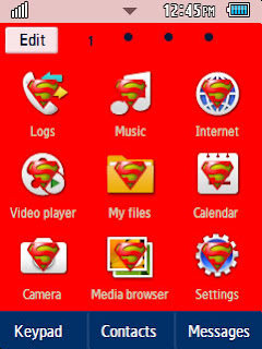 Anime Superman Samsung Corby 2 Theme Menu