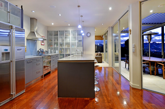 Photo of modern kitchen interiors during the night