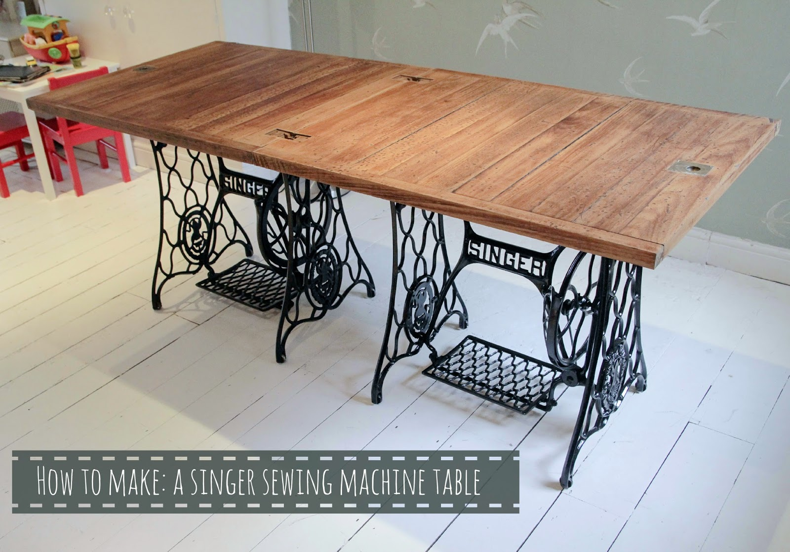 How to make a singer sewing machine dining table