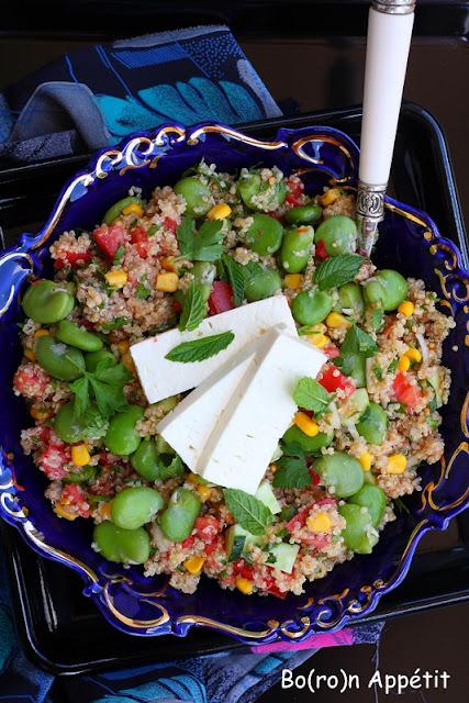 Sałatka z komosy ryżowej z bobem