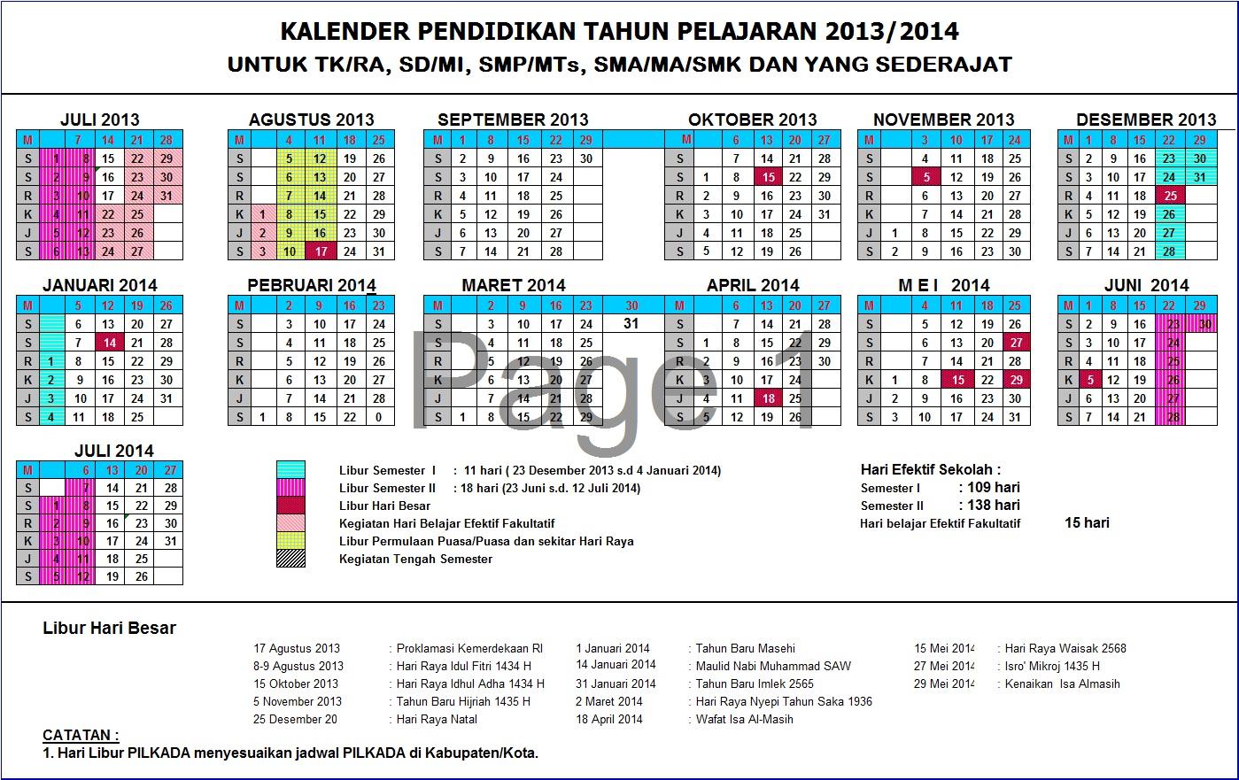 suguhkan kalender pendidikan tahun pelajaran 2013 2014 versi kalender