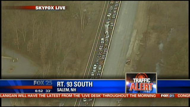 93, boston, traffic, salem, new hampshire, traffic alert, news, merging, traffic jam