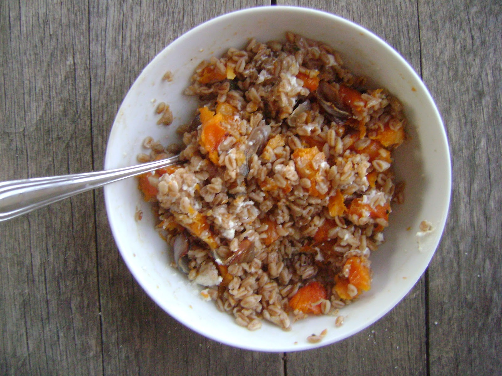 Farro Salad with Roasted Butternut Squash - mysavoryspoon