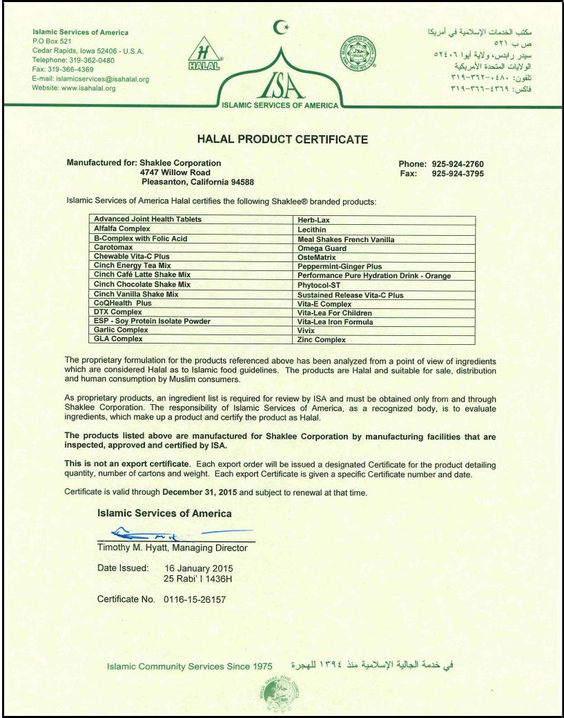 Sijil Halal Shaklee Tahun 2015