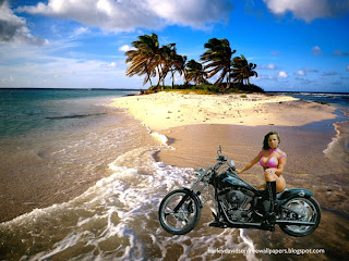 Harley Davidson Bikini Babes Wallpapers Bikes Beautiful Babe in Beautiful Island Wallpaper