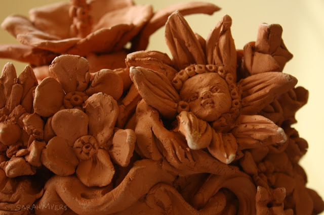 spring, detail, flower, child, face, baby, small, little, earthenware, sculpture, sarah, myers, human, allegorical, figurative, personification, happiness, blooms, hair, seasons