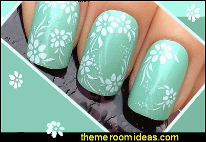 Decorating theme bedrooms maries manor nail art flower themed white flowers leaf design white flowers leaf design mightylinksfo