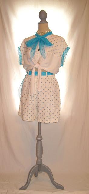 Blue and White Polka Dot Summer Shorts Set, 80s Vintage Summer Romper Shirt Short