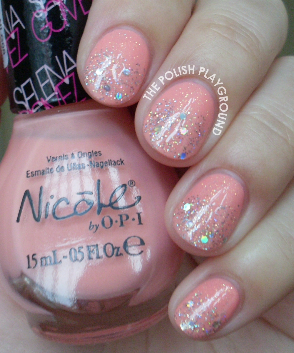 Pink and Silver Glitter Gradient Nail Art