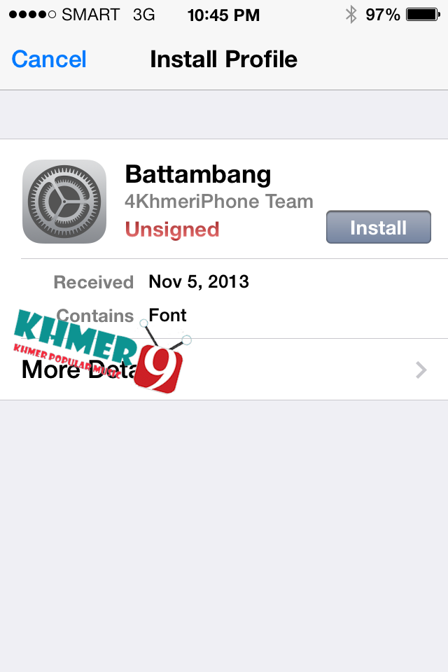 How to install Font Khmer Without Jailbreak on iOS 7 (iPhone iPad iPod