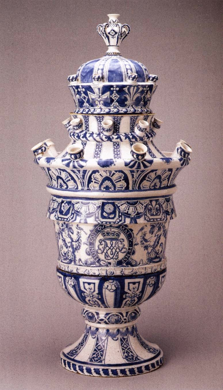 Art and architecture mainly dutch pottery tulips british examine photograph above a large tulip vase that was made in the delft pottery de grieksche for the stadholder king as we can tell from the royal arms reviewsmspy