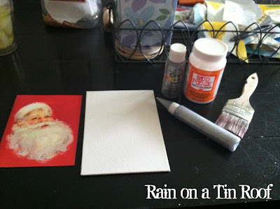 DIY Vintage Style Christmas Art {rainonatinroof.com} #DIY #Christmas #art